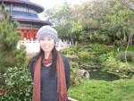 Sonya in a Chinese garden including replica Temple of Heaven
