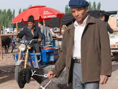 A Uighur men and his two goats