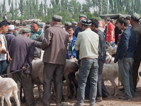 Men bartering around the goats
