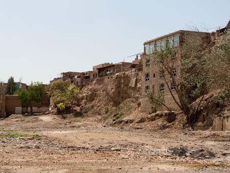 The old mud brick buildings of silk road city Kashgar