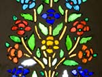 Floral stained glass window at the Hawa Mahal