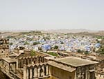 Rooms of the Mehrangarh Fort with the blue city in the background