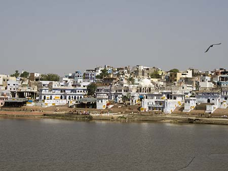 The many Ghats on the edge of Pushkar Lake