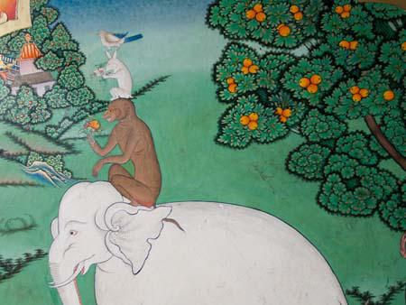 Four harmonious friends, an elephant, monkey, rabbit and bird